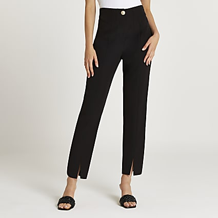Black split front cigarette trousers