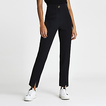 Black split front cigarette trousers