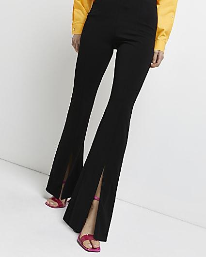 Black split front flared trousers
