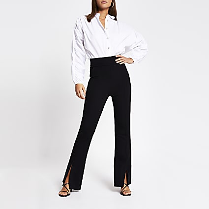 Black split front stud ponte flare trousers