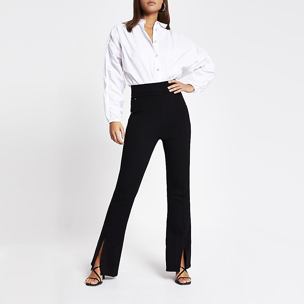 Black split front stud ponte flare trousers