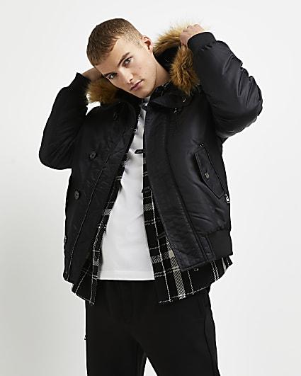 Black split fur hood padded bomber jacket