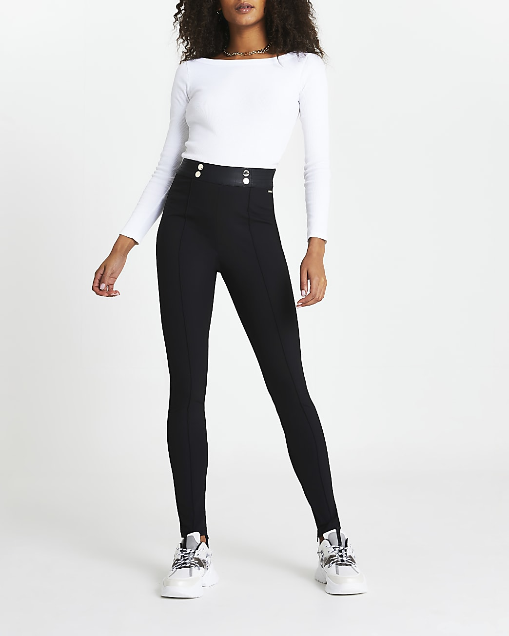 Black split hem skinny trousers
