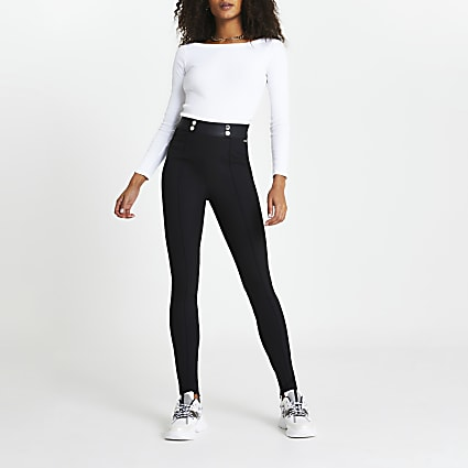 Black split hem skinny trousers