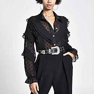 Langärmeliges Hemd mit Punkten und Rüschen in Schwarz