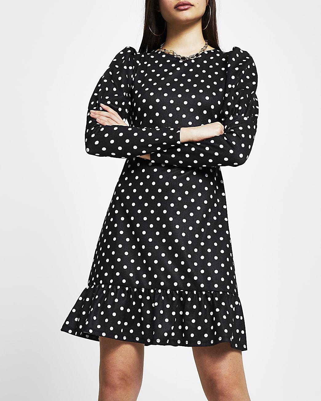 Black spot long sleeve mini dress
