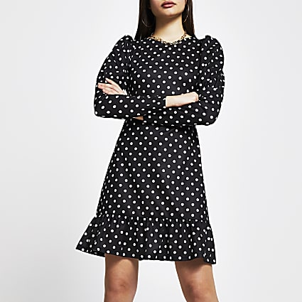 Black spot long sleeve mini dress