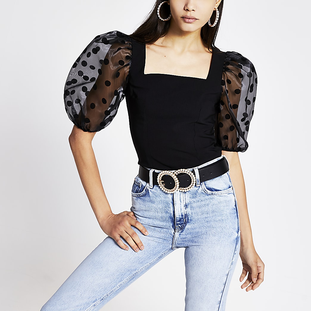 Black spot organza puff sleeve top