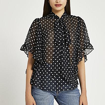 Black spot print frill cape blouse top