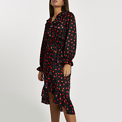 Black spot print frill wrap midi dress