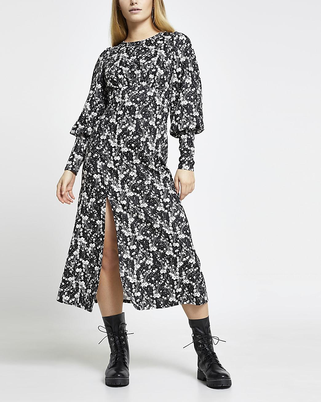 Black spot print front split midi dress