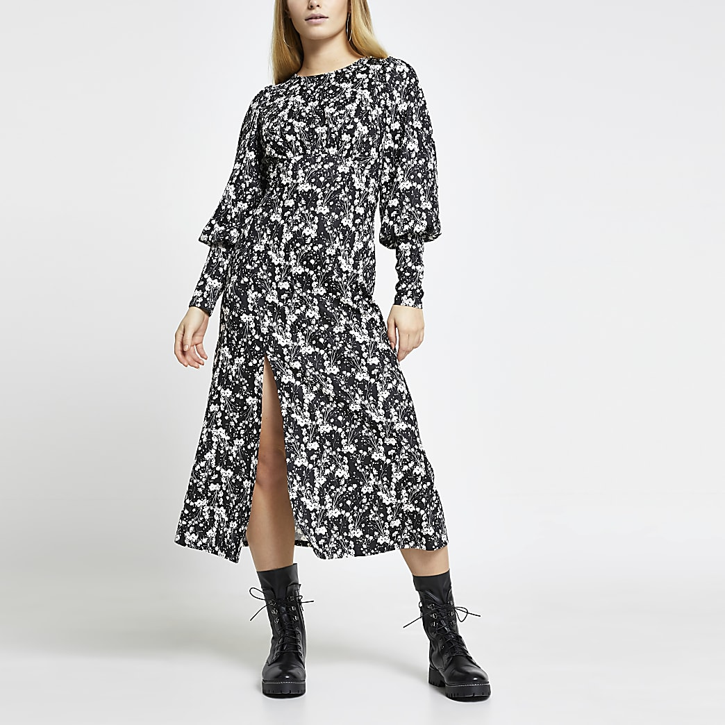 Black spot print front split midi dress