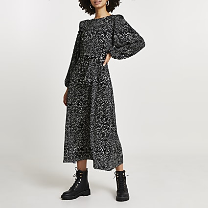 Black spot print plisse tie waist midi dress