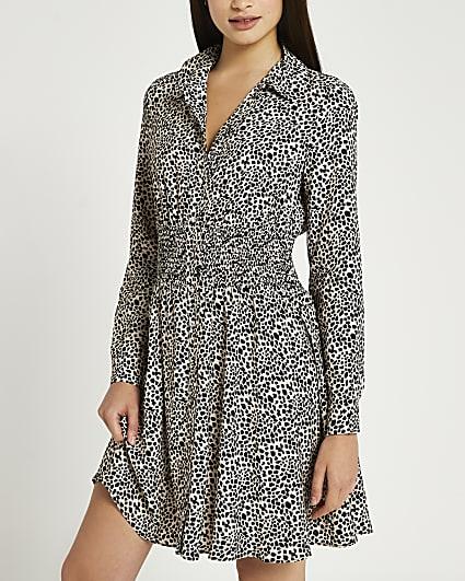 Black spot print shirred shirt dress
