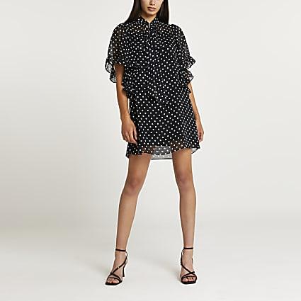 Black spot print tie front swing dress