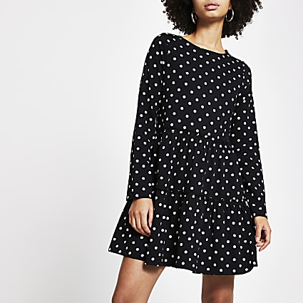 Black spot print tiered smock dress