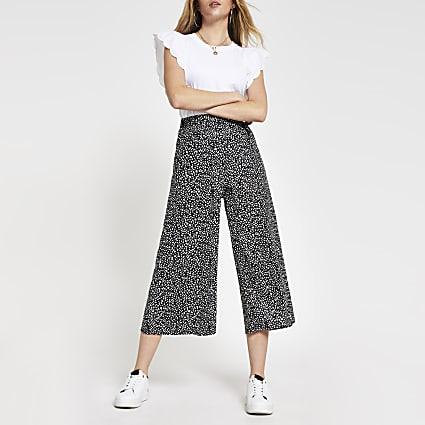 Black spot print wide leg culottes