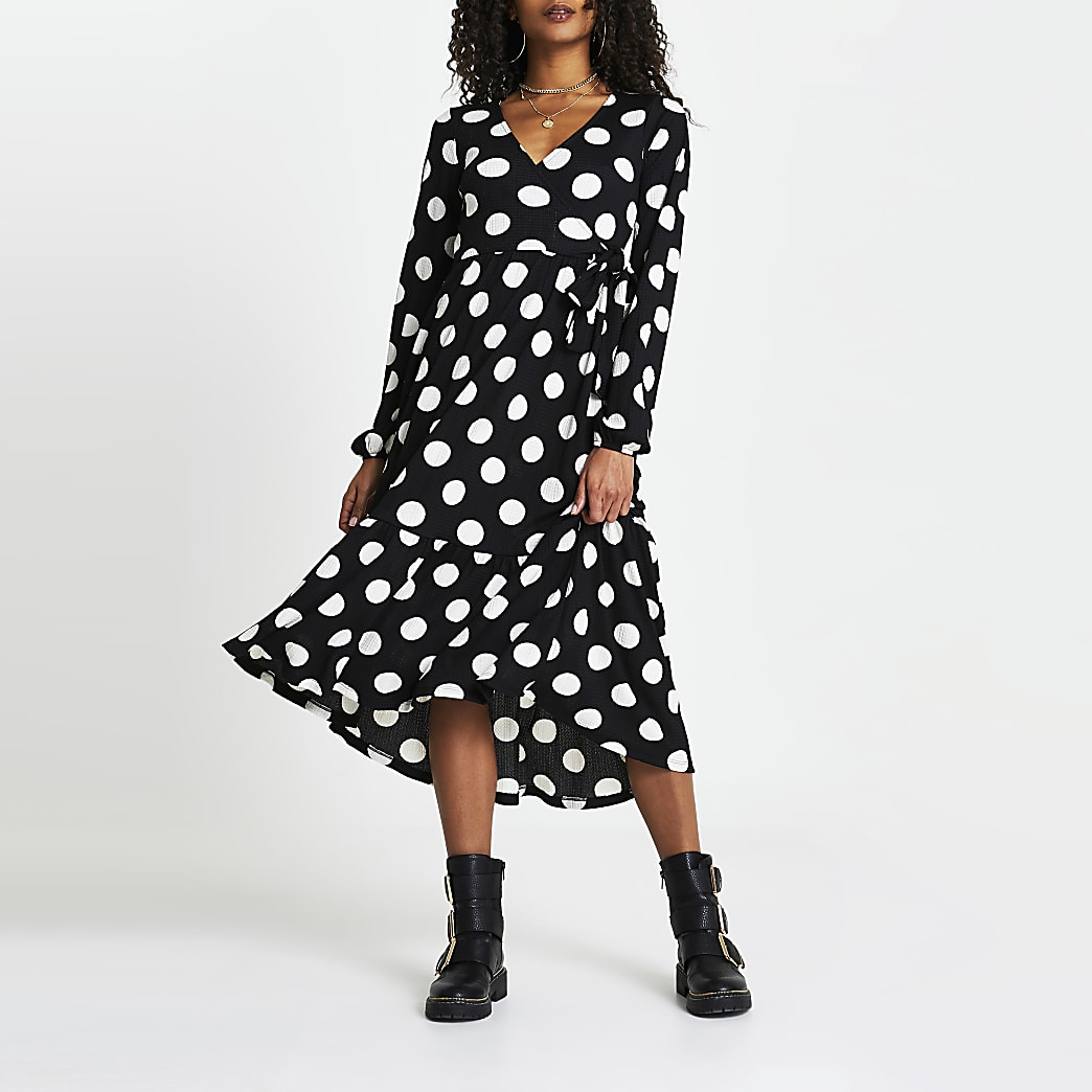 Black spot print wrap bow side midi dress