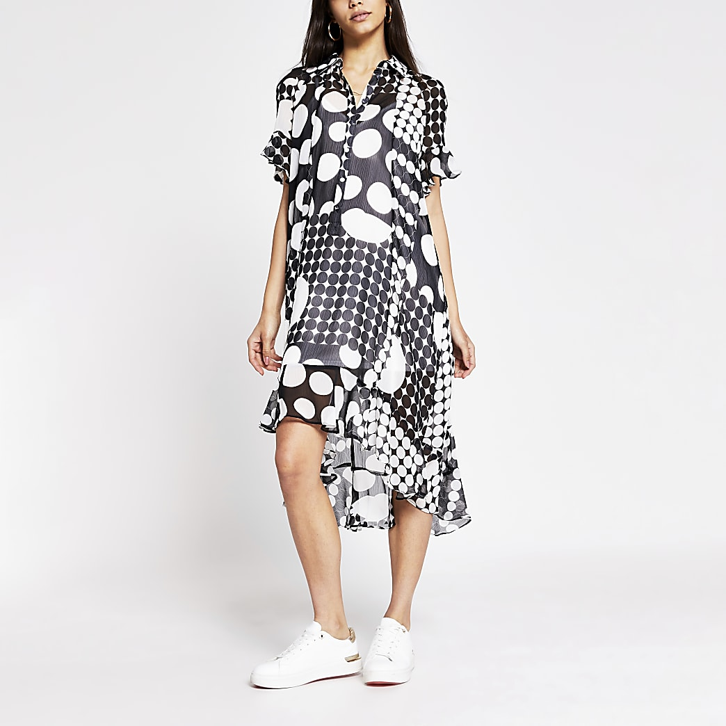 Black spot printed midi shirt dress