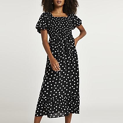 Black spot puff sleeve midi dress
