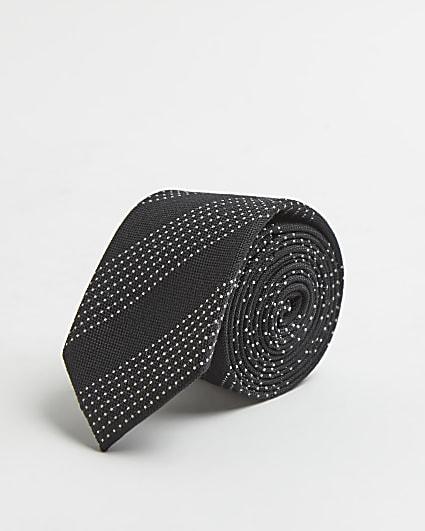 Black spot stripe print tie