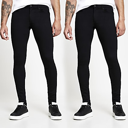 Black spray on skinny fit jeans 2 pack