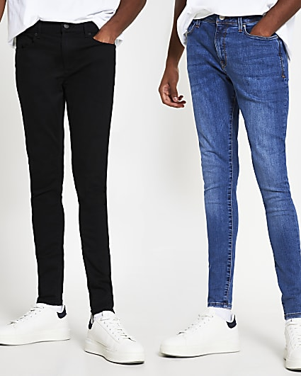 Black spray on skinny fit jeans 2 pack