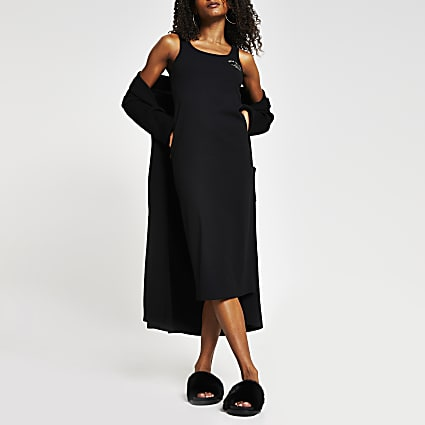 Black square neck column dress