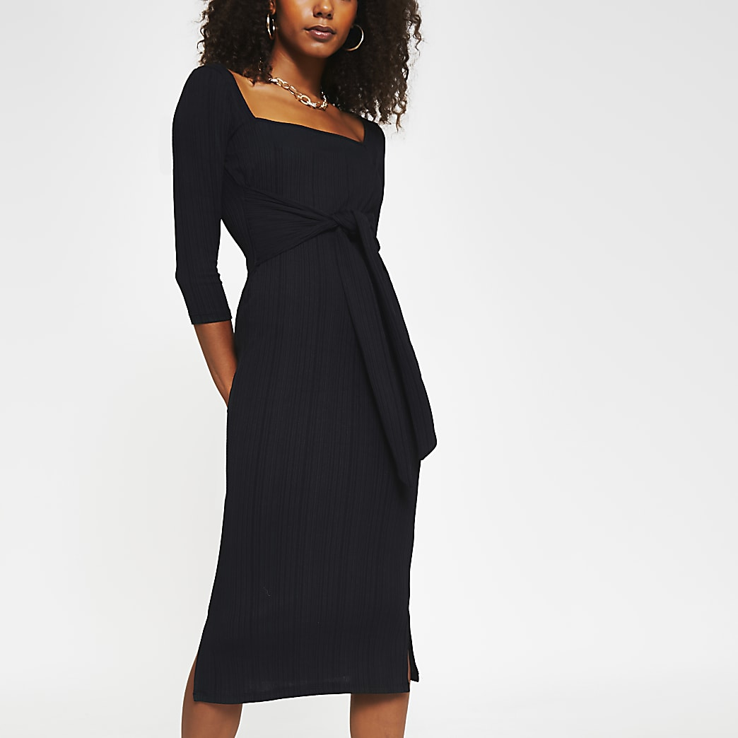 Black square neck knot waist dress