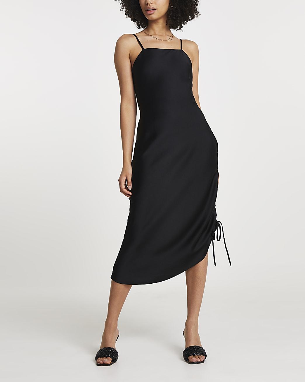 Black square neck ruched midi slip dress