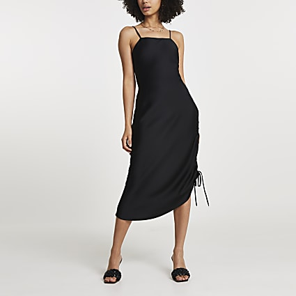 Black square neck ruched midi slip dress