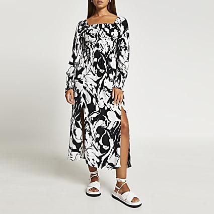 Black square neck shirred midi dress