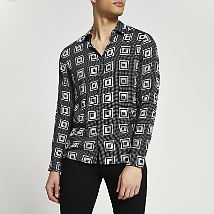 Black square print long sleeve shirt