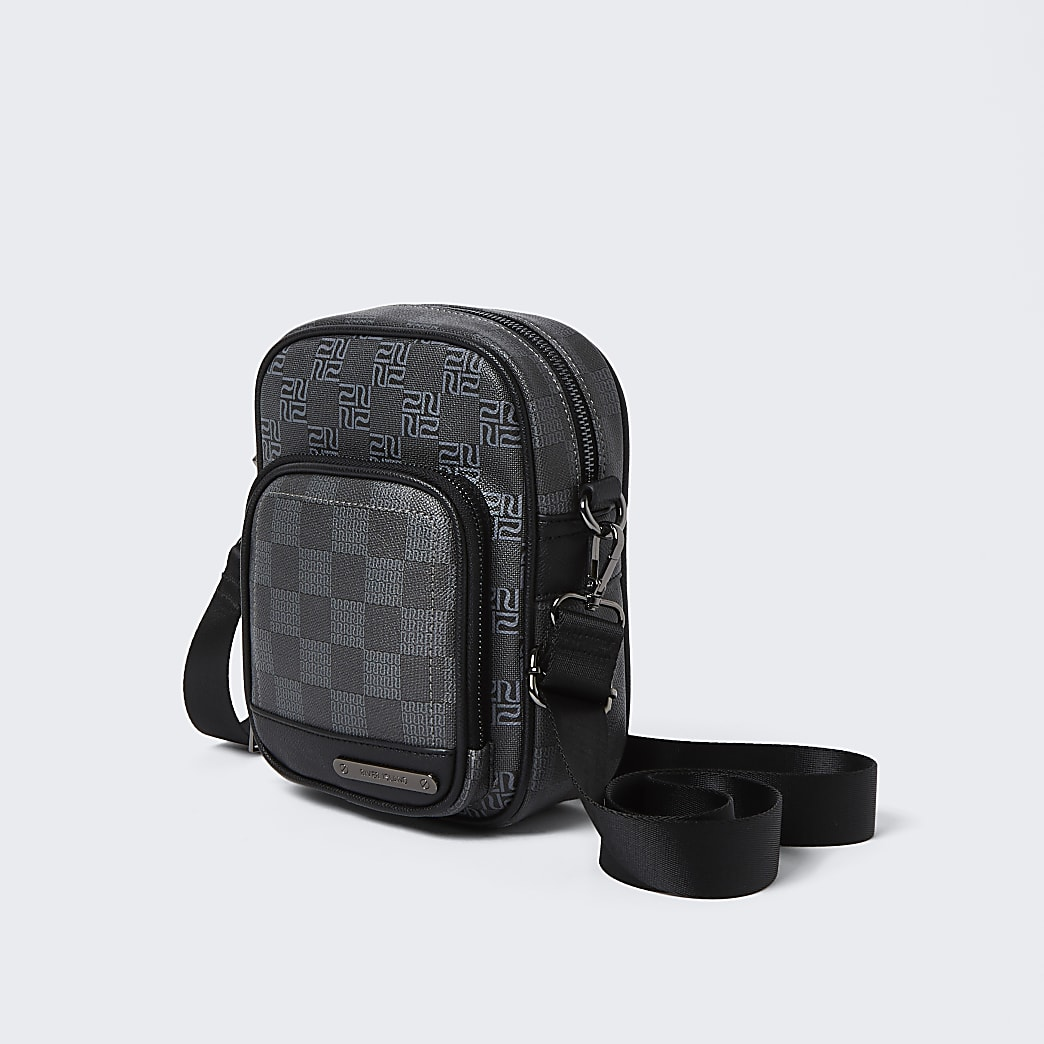 Black square RI monogram cross body