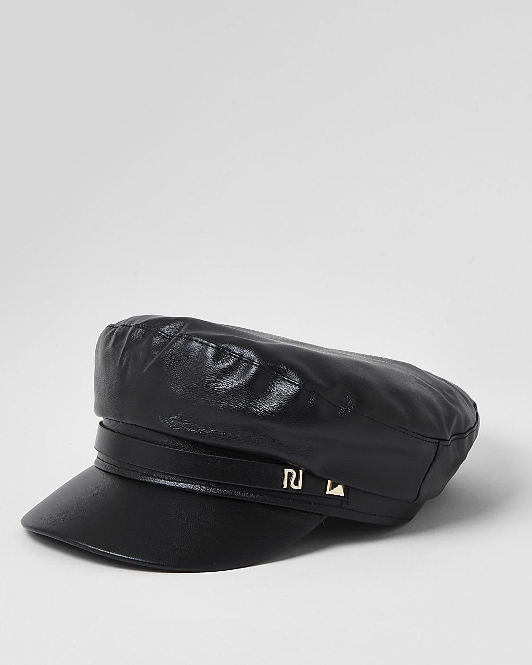 Black square RI trim baker boy hat