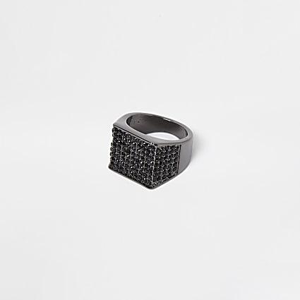 Black square stone signet ring
