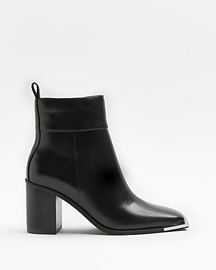 Black square tie block heeled boots