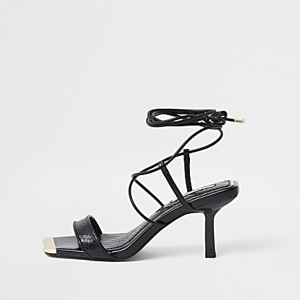 Black Square Tie up Mid Heel Sandal