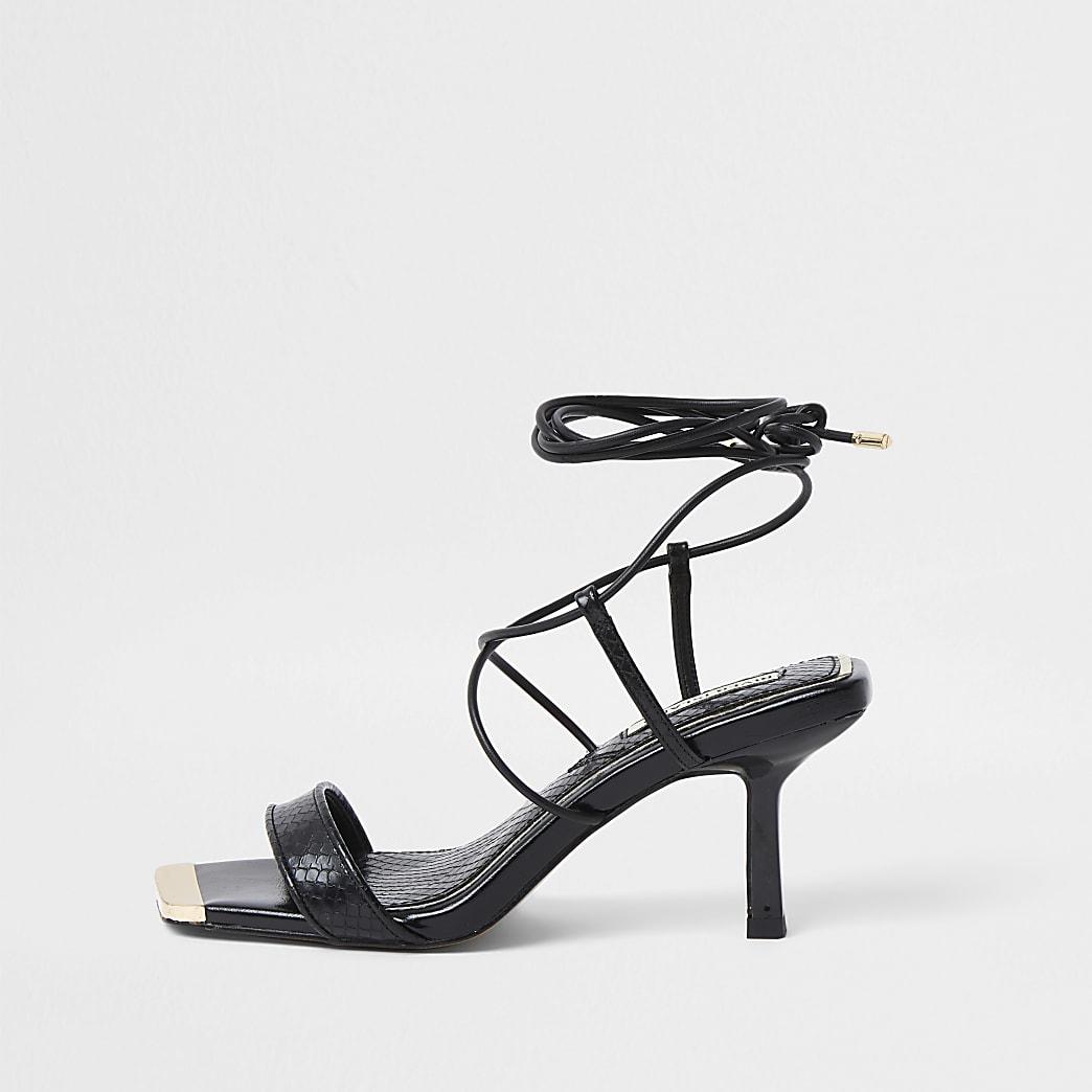 Black Square Tie up Mid Heel Sandal