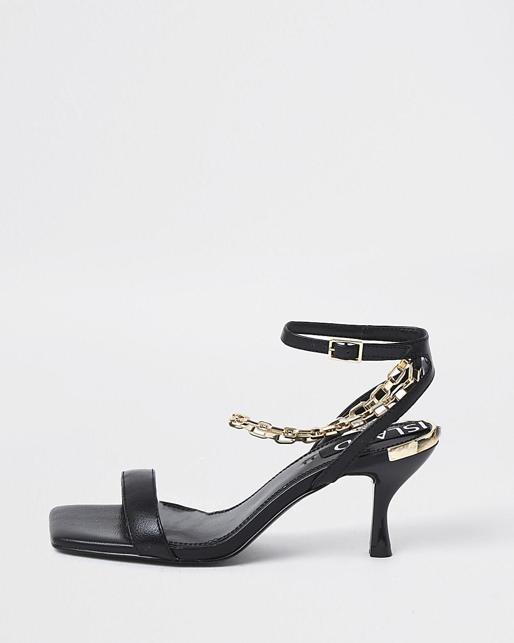 Black square toe ankle chain kitten heels