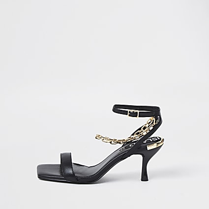Black square toe ankle chain kitten heels