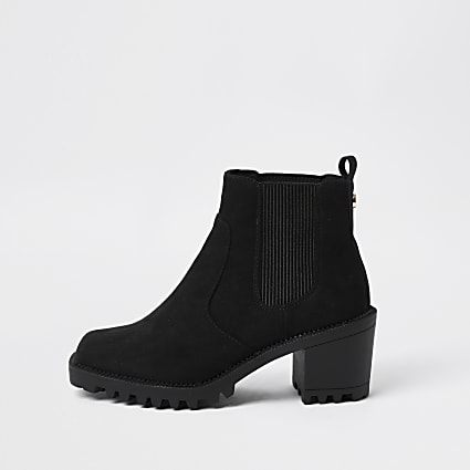 Black square toe block heel boot