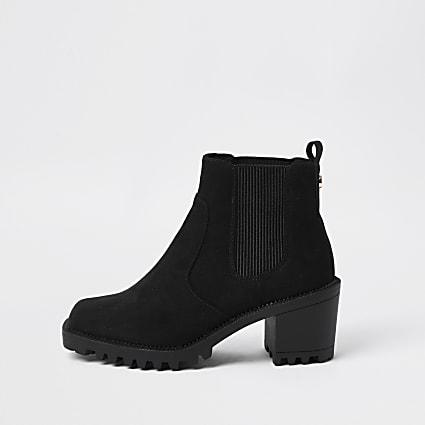 Black square toe block heel boot