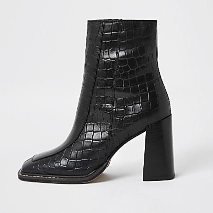 Black square toe faux leather boot
