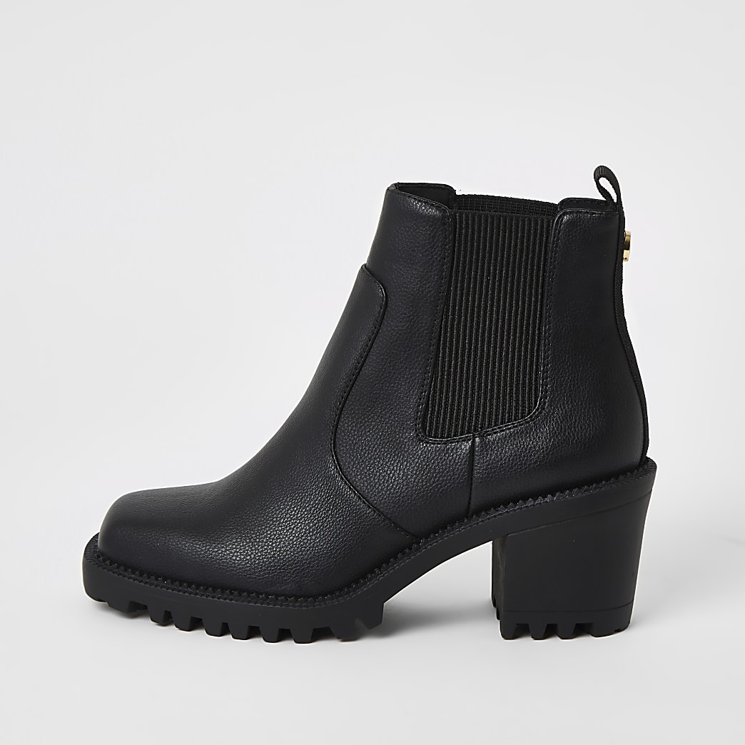 Black square toe heeled ankle boots
