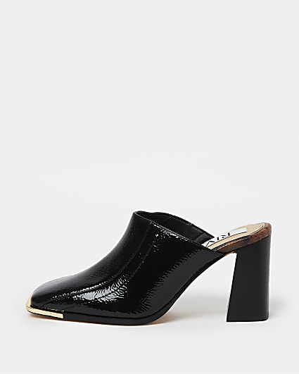 Black square toe heeled mules