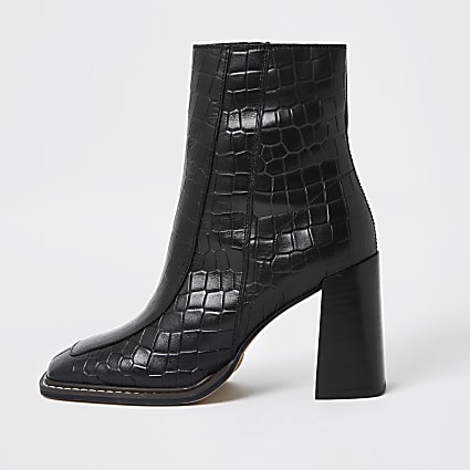 Black square toe leather ankle boot