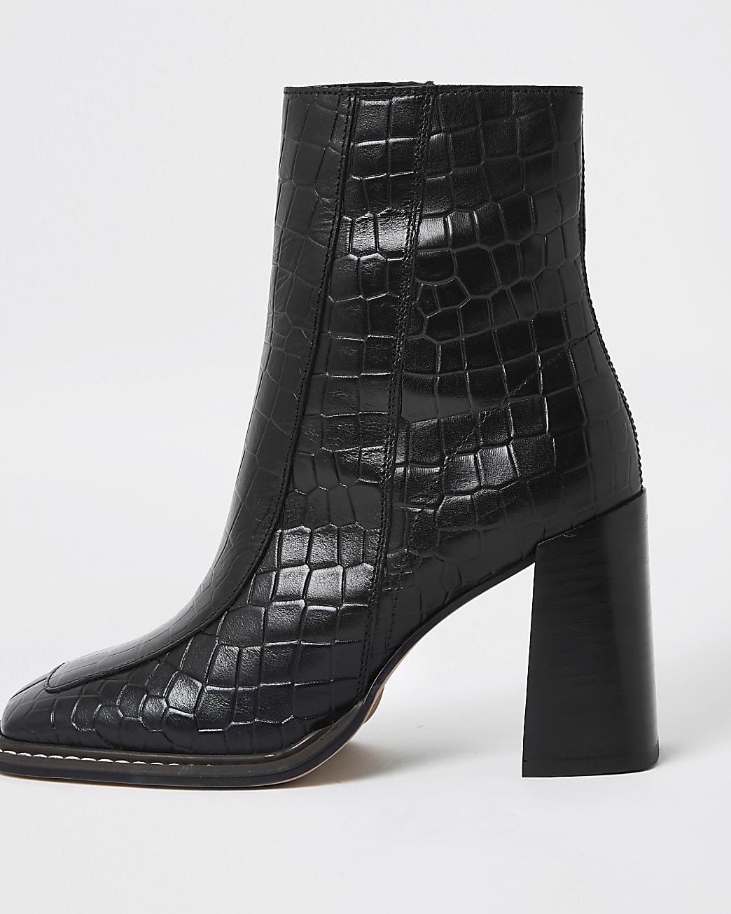 Black square toe leather ankle boots