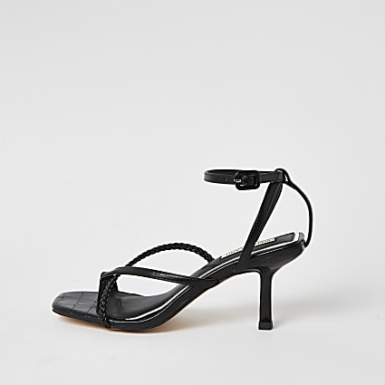 Black square toe midi heel sandals
