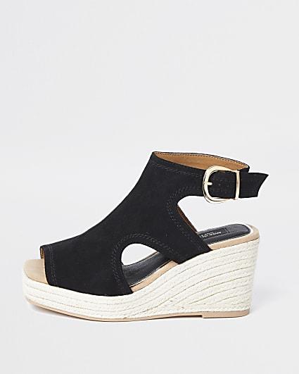 Black square toe wedge shoe boot
